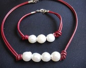 Discount : 26 USD ... (leather choker with pearls Perlas)