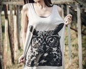 Owl Tank Top - Women Tank Top,Owl Tank Top,Bird Tee, Vest, Women, Men, Sleeveless, Singlet Gray Tank Top Size M L.