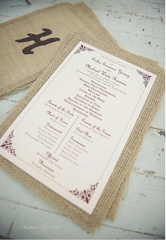 Printable Wedding Ceremony Program, Vintage Printable Program for Wedding, Custom Wedding Program, Order of Ceremony, Ceremony Outline