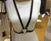 Black Leather Harness Belt with Front Oring and Back Criss Cross Buckles