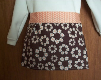 Apron  girls half apron brown with tiny daisy circles Size 2 - 6
