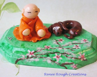 Kawaii Buddhist Monk Chibi Dachshund Dog Asian Celebration Polymer Clay Cherry Blossom Tree Sculpture Cake Topper Free Shipping USA