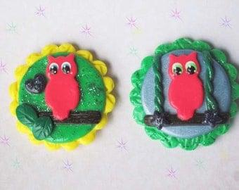Kawaii Owl Magnet Set Polymer Clay Kitchen Office Organize Cute Geek  Accessories Free Shipping USA