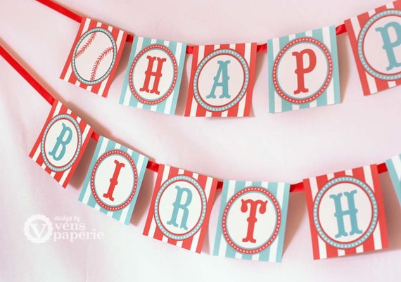 Vintage Blue Baseball Birthday Party - DIY PRINTABLE Happy Birthday Banner - Instant Download - design by venspaperie - PS804CA1e