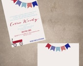 Red Wagon Baby Shower invite/thank you note combo-print your own
