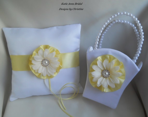 Ring Bearer Pillow With Flower Girl Basket Daisy Flower Rhinestone Pearl Charms White and Yellow Set