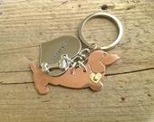 Doxie Love Dachshund Keychain. Custom copper dachshund Keyring