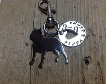 Pit Bull Silver Metal Key Chain  Pittie Dog Lover ID TAG