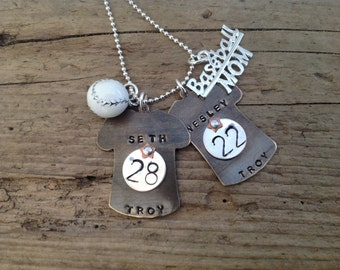 Special ersteed Baseball Mom Necklace with Two Jerseys Silver Charm Ball Girlfriend Grandma