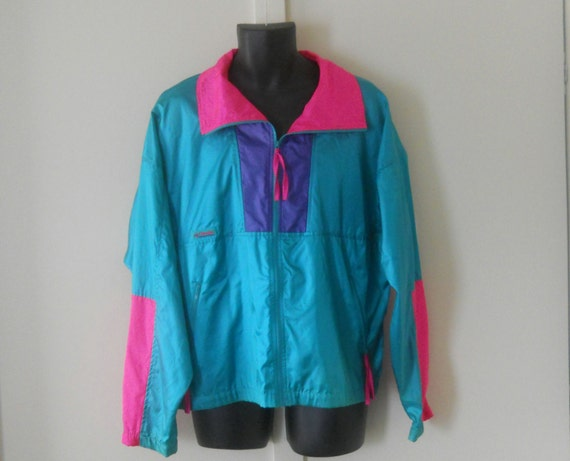 Neon Windbreaker / 80s Windbreaker Jacket / Retro 90s Jacket
