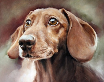 Dashound Portrait, Custom Pet Portrait, Dog Oil Painting, Pet Portrait, Portrait Commission, Animal Portrait, 8x10