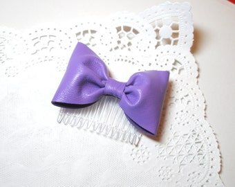 Violet  bow pin- leather wedding accessory-  CHOOSE -shoe clips, headband, hair clip, comb, brooch pin with Hair Clip , Pin last minute gift