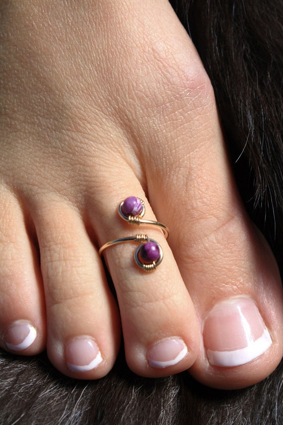 Halloween Genuine Sugilite and 14K Gold Wire Wrapped Adjustable Ring/Toe Ring