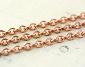 20ft Copper Chain 4mm x 5mm, Oval Link, Round Cable Chain Unsoldered, Solid Pure Copper, Small