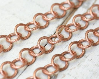 6ft 10mm Etched Round Link Solid Copper Cable Chain, Large Textured Twisted Patterned Huge Chunky, 16 gauge