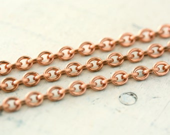 6ft Solid Copper Chain 4mm x 5mm, Oval Link, Small Round Cable Unsoldered