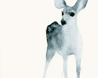 Watercolor Fine Art Print Ghost Fawn Listening