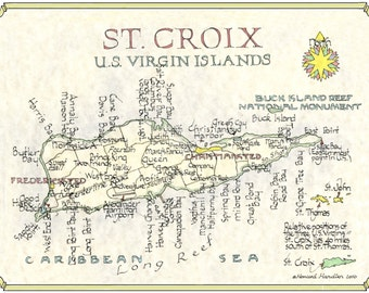 St. Croix from original drawing - Two Sizes