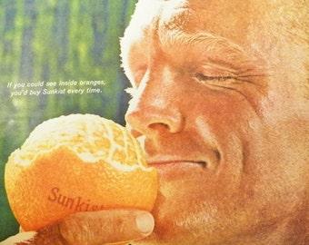 1960s Sunkist Oranges Ad Vintage 1960s