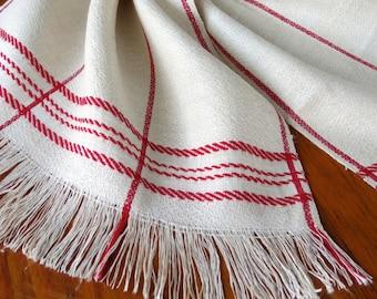 Vintage Linen Towel Dish Red Stripe Kitchen Natural Homespun