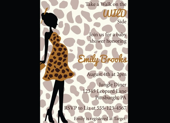 animal print baby shower invitation leopard giraffe diy printable
