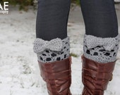 Crocheted boot cuff leg warmers with bow in various colors