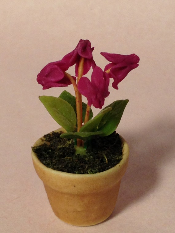 Dollhouse Miniature Potted Plant Cyclamen Scale One Inch