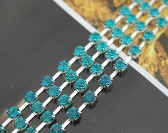 28 FEET of size SS16/4.0mm Blue Zircon Acrylic Close Chain Trims Silver Cup Chain Silver 9.3 Yards Wedding Cake Decoration