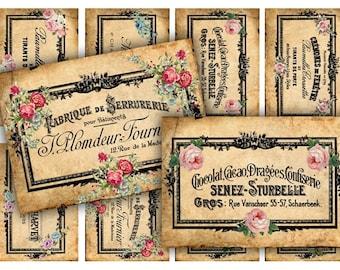 Digital Images - Digital Collage Sheet Download - French Ephemera Labels -  594  - Digital Paper - Instant Download Printables