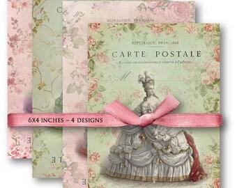 Digital Collage Sheet Download - Marie Antoinette Carte Postale -  607  - Digital Paper - Instant Download Printables
