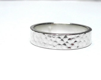 Subtle Scales Ring in Recycled Sterling Silver, Customizable Stacking Ring, Scales, Reptile Ring