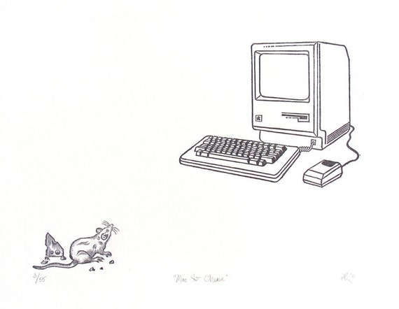Computer and Mouse Wood Engraving, Mac & Cheese, Apple, Mac Plus