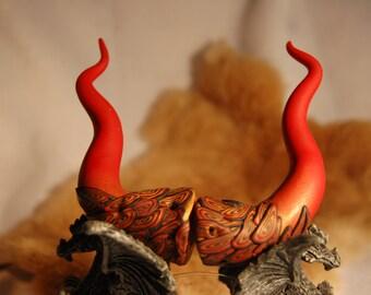 Red gold n black DRAGON Horns cos play Fantasy Fantastical fairy festival, ren fair or RAVE
