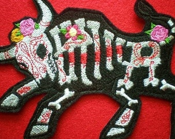 Large Embroidered Toro Muerto Applique Patch, The Skeleton of a Bull, Day of the Dead, Dia de los Muertos, Iron-On Patch, Hispanic