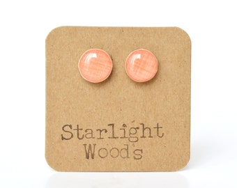 Coral stud earrings eco friendly jewelry post earrings starlight woods