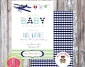 BABY SHOWER INVITATION - Teddy Bear Aviator Invitation - Printable Baby Shower Invitation