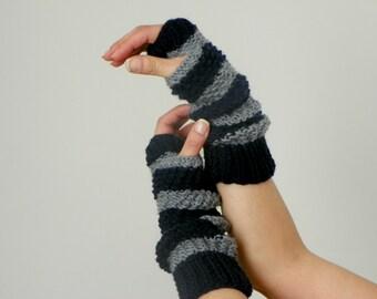 Knitting fingerless gloves grey dark blue, women winter fall accessories, long gloves