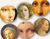 2in MONALISA CLOSEUPS RENAISSANCE beauties circles rounds for mirrors buttons badges paper crafts etc  MagentaBelle digital collage sheet 18