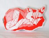 Florescent Orangle Geometric Screen Printed Linen Fox Pillow
