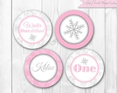Pink Winter ONEderland Party Circles. Winter Wonderland Cupcake Toppers. Personalized DIY Printable Cupcake Toppers.