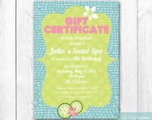 Spa Party Invitation - Spa Birthday Party Invite. DIY Printable Invitation. Spa Decor Package Available. Featured on Amy Atlas.