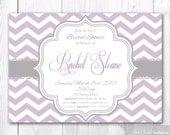 Bridal Shower Invitation - Chic Chevron in Lilac & Lavender. DIY Printable Bridal Shower Invite or Baby Shower Invite.