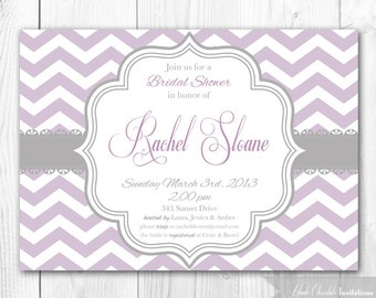 Bridal Shower Invitation - Chic Chevron in Lilac & Lavender. DIY Printable Bridal Shower Invite or Baby Shower Invite.