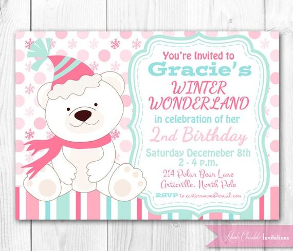 Polar Bear Birthday Invitation Pink. By HauteChocolateFavors