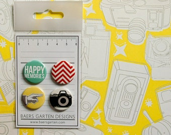 "Badges / Flair buttons ""Happy Memories"" / Camera / Chevron / Everyday"