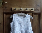 girls vintage white sun dress petticoat embroidered lace summer button back age 4 / 5 years