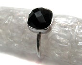 925 Sterling Silver Black Onyx Gemstone Ring , Fine Quality jewelery Chekker cut Faceted Cushion Shape Hand made Stackable gem stone Ring