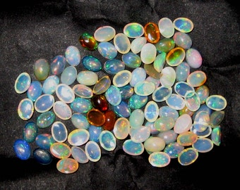 Fine Quality Multi Colour Flashy Ethopian Welo Opal 7x5 mm Oval Shape Gemstone Cabochons 10 pieces lot , Calibrated size cabs jewelry making