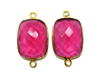 24kt. Gold Vermeil Bezel Connector cushion shape Chekker Cut Faceted Gemstone matching earring pairs supplies findings