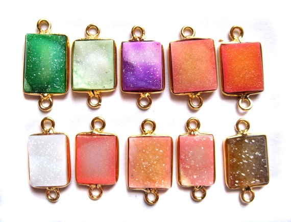 24 kt. Gold Plated Druzy Bezel Connectors findings , fine druzy gem stone Findings connectors , gold plated colour druzy findings